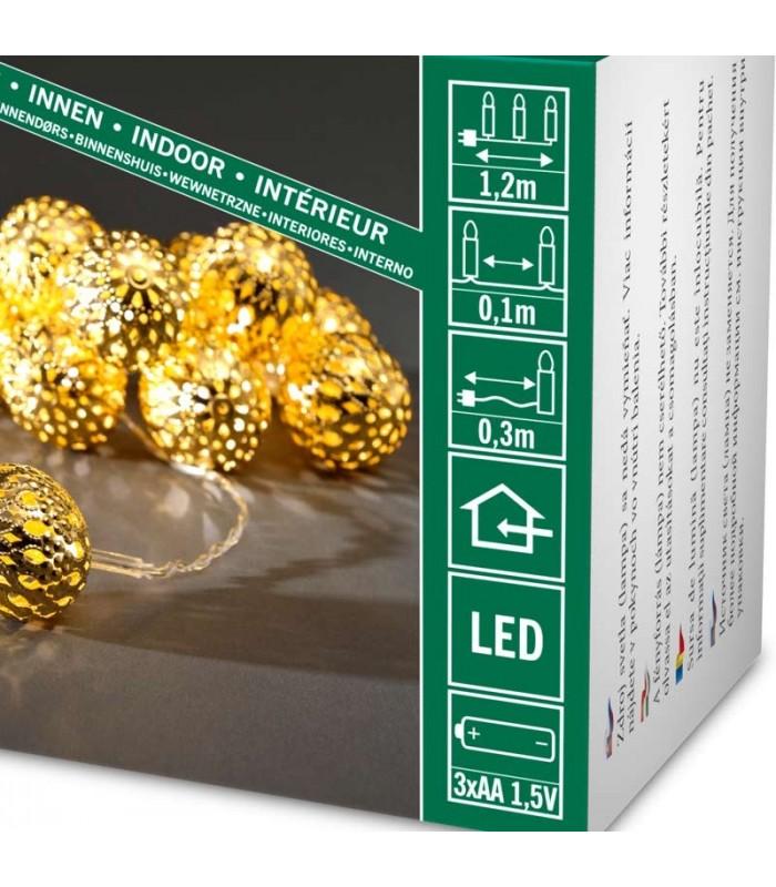 guirlande lumineuse d corative piles billes dor es 10 diodes led. Black Bedroom Furniture Sets. Home Design Ideas