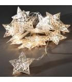Guirlande étoiles lumineuses LED, en métal argent, 16 diodes