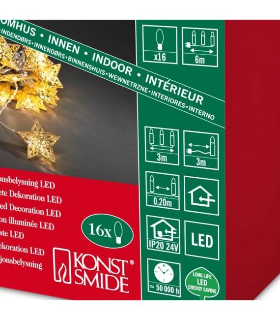 Guirlande lumineuse décorative à LED, étoiles en métal dorées,16_diodes blanc chaud,transfo intérieur 24V,câble transparent