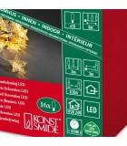 Guirlande étoiles lumineuses LED, en métal dorées, 16 diodes