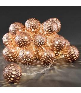 Guirlande lumineuse boules métal bronze, 24 diodes LED