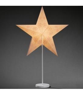 Étoile lumineuse électrique 5branches en papier, blanche, sur pied blanc, 46 cm