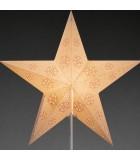 Étoile lumineuse électrique 5branches en papier, blanche, sur pied laiton, 46 cm