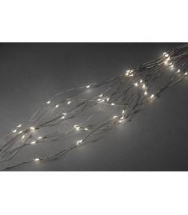 Guirlande LED lumineuse ornées de gouttes, 200 diodes blanc chaud, fil argenté
