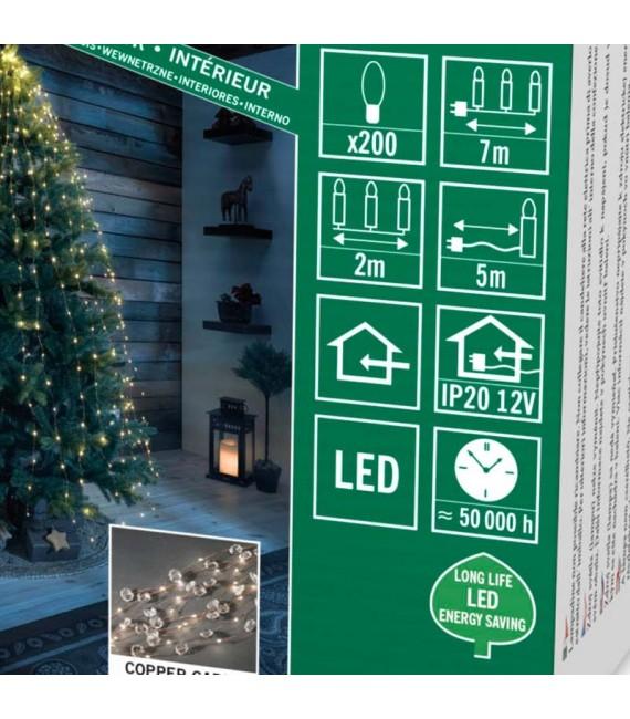 Guirlande lumineuse LED ornées de diamants, 200 diodes blanc chaud, fil cuivré