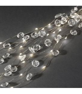 Guirlande lumineuse LED ornées de diamants, 200 diodes blanc chaud, fil argenté