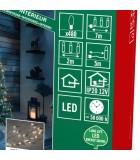 Guirlande LED lumineuse à lamelles étoilées, 480 diodes blanc chaud, fil cuivré