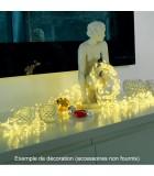 Guirlande LED lumineuse à lamelles étoilées, 480 diodes blanc chaud, fil argenté