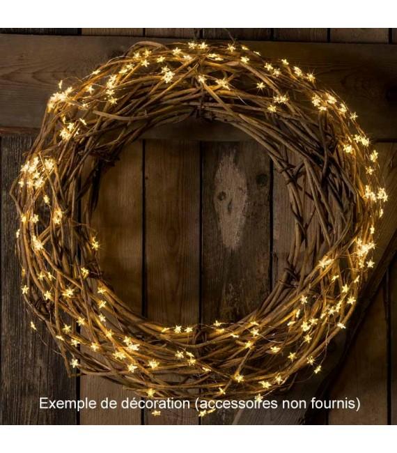 Guirlande lumineuse LED à lamelles étoilées, 200 diodes blanc chaud, fil argenté