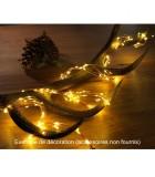 Guirlande lumineuse LED ornées de gouttes, 480 diodes blanc chaud, fil cuivré