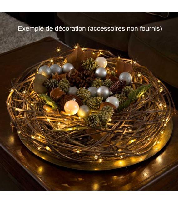 Guirlande lumineuse LED effet gouttes, 100 diodes ambrées, fil noir