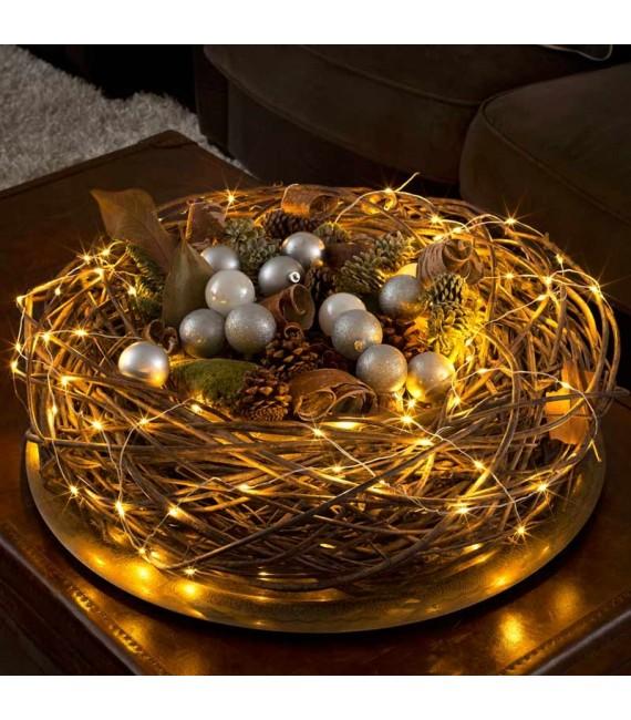 Guirlande lumineuse LED effet gouttes, 100 diodes ambrées, fil blanc