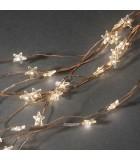 Guirlande lumineuse LED à lamelles étoilées, 200 diodes blanc chaud, fil cuivré