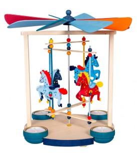 Grand carrousel chevaux de bois à bougies
