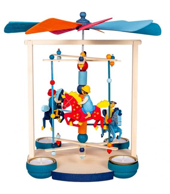 Grand carrousel chevaux de bois à bougies avec enfants