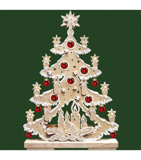 Sapin de Noël en bois lumineux, avec boules de Noël rouges, effet givré