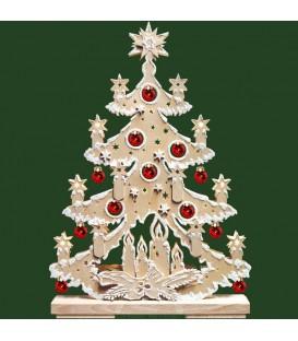 Sapin de Noël lumineux led en bois, avec boules de Noël rouges, effet givré