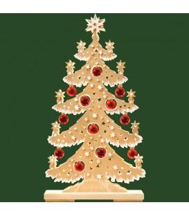 Grand sapin lumineux led effet givré, en bois avec boules de Noël rouges