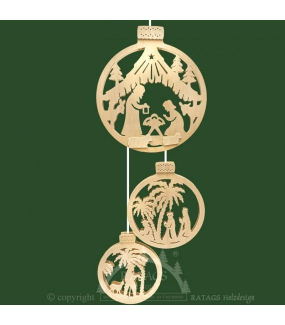 Crèche de Noël en bois électrique à suspendre dans trois boules
