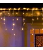 Rideau lumineux effet neige à LED,200_diodes blanc chaud,transfo extérieur 24V,câble blanc