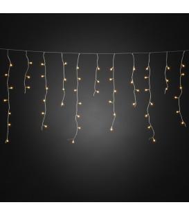 Rideau lumineux effet neige à LED, avec globes blancs, 200 diodes ambrées