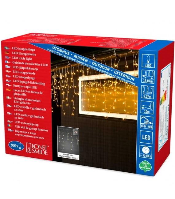 Rideau lumineux effet neige à LED, 200 diodes ambrées