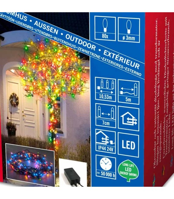 Guirlande lumineuse micro-LED, avec 8fonctions, appareil de commande et fonction mémoire,80_diodes multicolores,transfo extérie