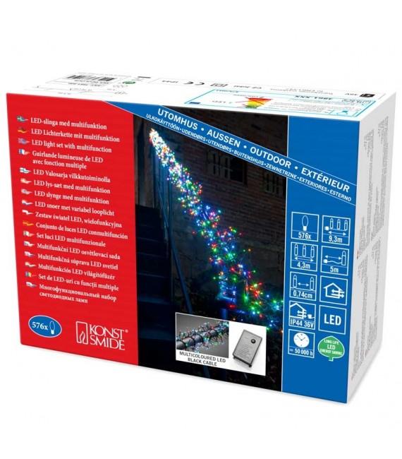 Guirlande grappe «Cluster» à micro-LED, avec 8fonctions, appareil de commande et fonction mémoire , 576 diodes multicolores,