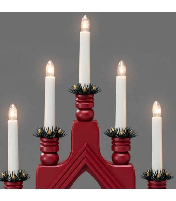 chandelier bougie lectrique rouge d coration lumineuse no l. Black Bedroom Furniture Sets. Home Design Ideas
