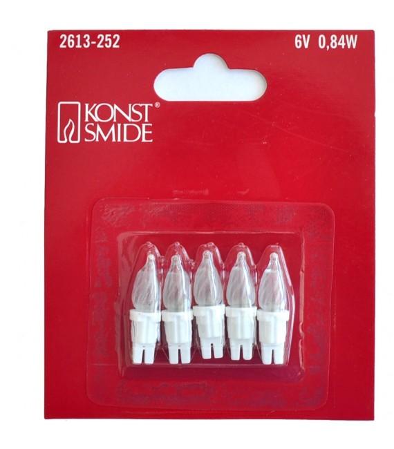Ampoules de rechange, paquet de 5,givré,6V,douille à enfoncer blanche