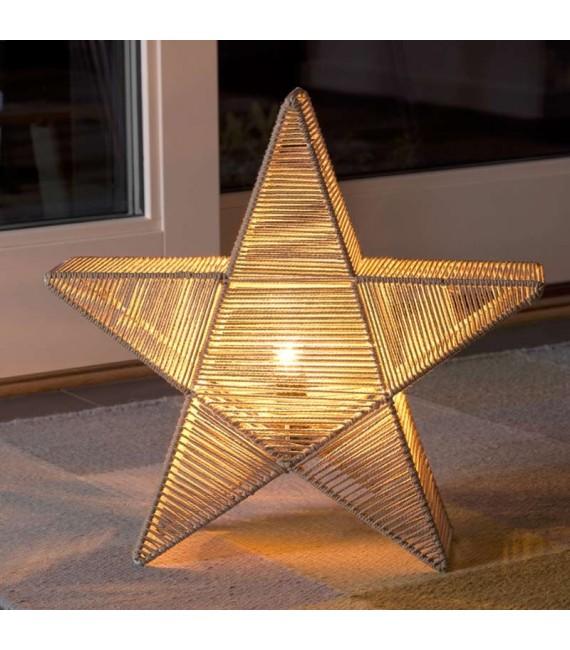 Étoile lumineuse électrique métallique, avec fil de coton beige enroulé, 42 cm