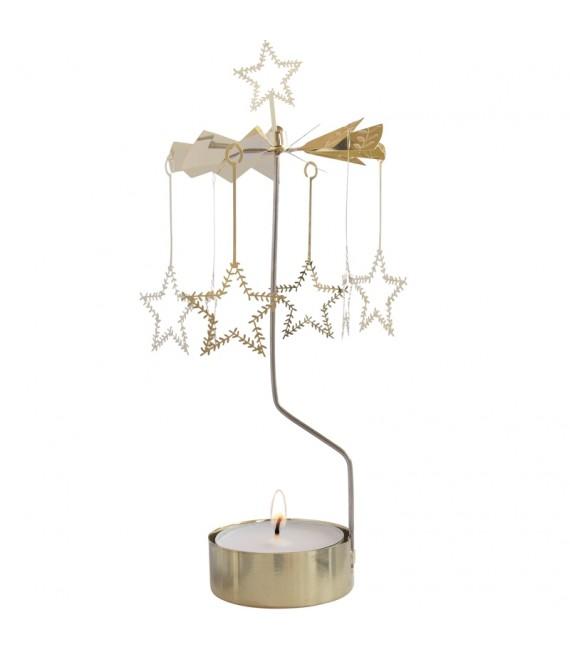 Grand photophore de Noël étoiles givrées dorées