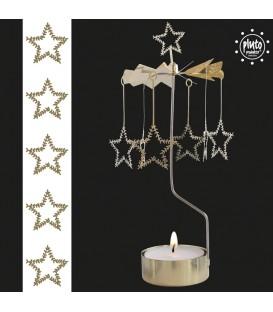 Grand photophore de Noël étoiles givrées dorées, 28 cm