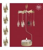 Grand carrousel de Noël père Noêl et sapins dorés