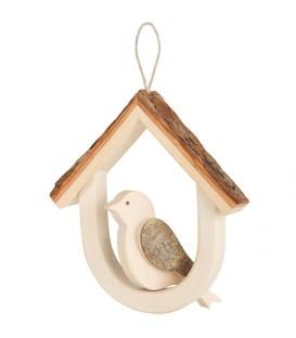 Décoration de fenêtre : petit oiseau dans maisonnette 13 cm