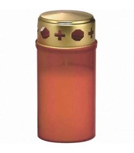 Bougie funéraire rouge avec couvercle doré, 12 cm