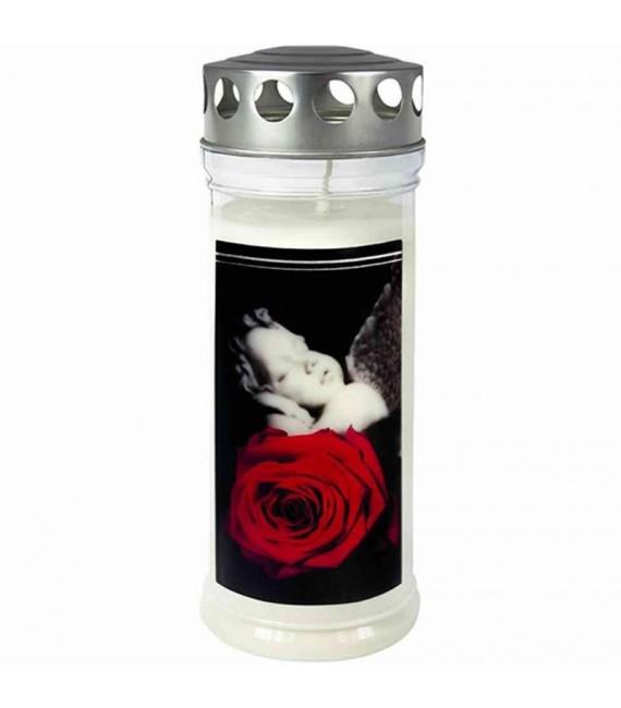 Bougie funéraire rose et ange, 21,5 cm