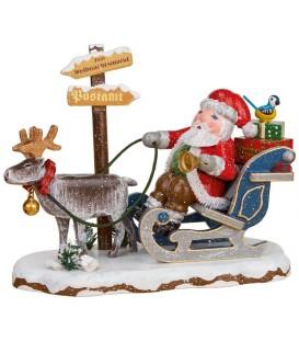 Village de Noël miniature,, père Noël sur traineau et rennes