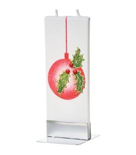 Bougie de Noël boule et houx