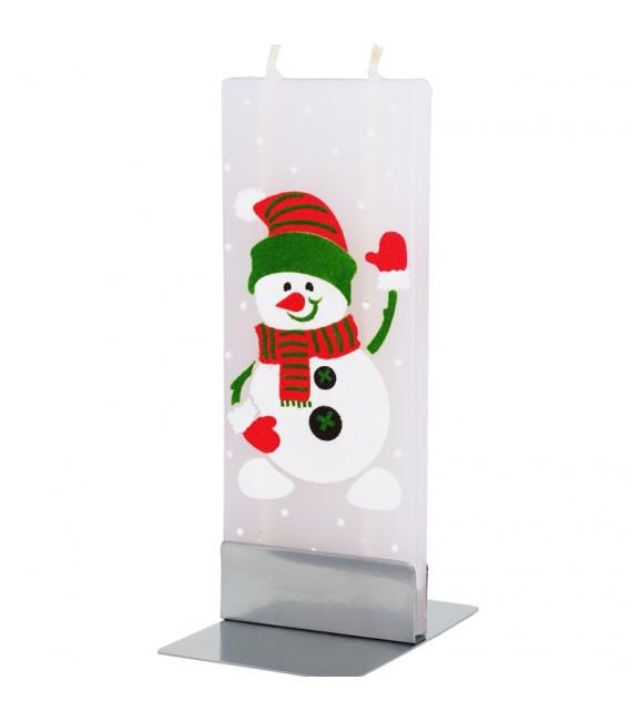 Bougie bonhomme de neige qui salue