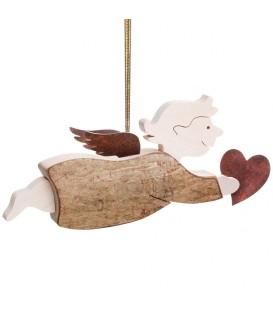 """Ange en bois volant avec un coeur dans la main, modèle """"fille"""""""