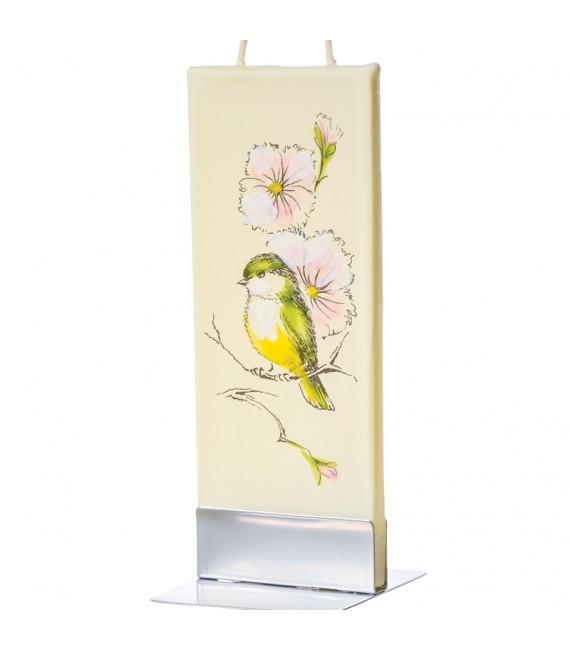 Bougie décorative oiseau et fleurs