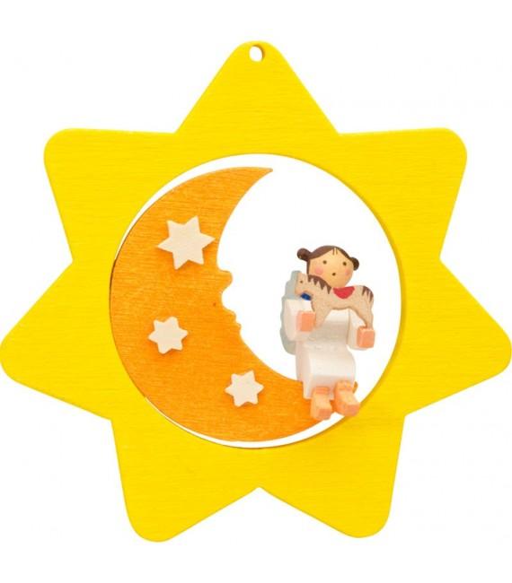 Déco sapin de Noël, étoile jaune, lune et ange n° 6
