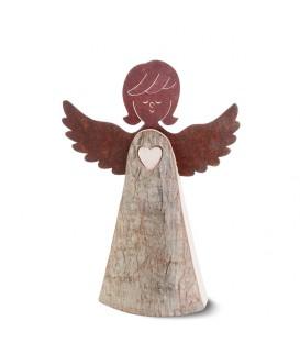 Ange en bois avec coeur et ailes métal, 15,5 cm