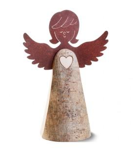 Statuette ange en bois avec coeur et ailes métal, 26 cm