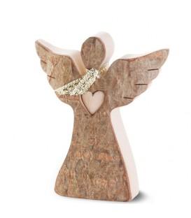 Petit ange de Noël en bois, avec coeur et écharpe, 6,5 cm