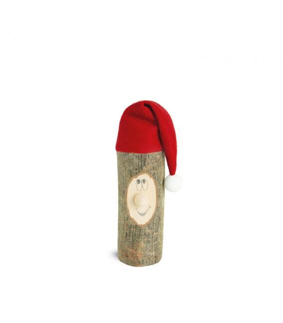Lutin père Noël en bois avec bonnet rouge, 6 cm