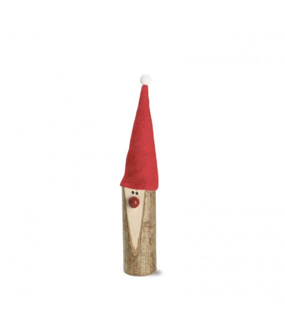 Père Noël en bois avec nez rouge et bonnet en feutre, 10 cm