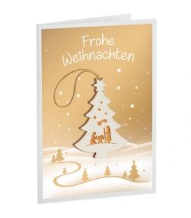 Carte de Voeux sapin de Noël, motif crèche