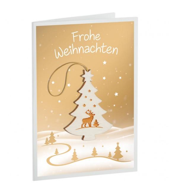 Carte de Voeux sapin de Noël, motif cerf
